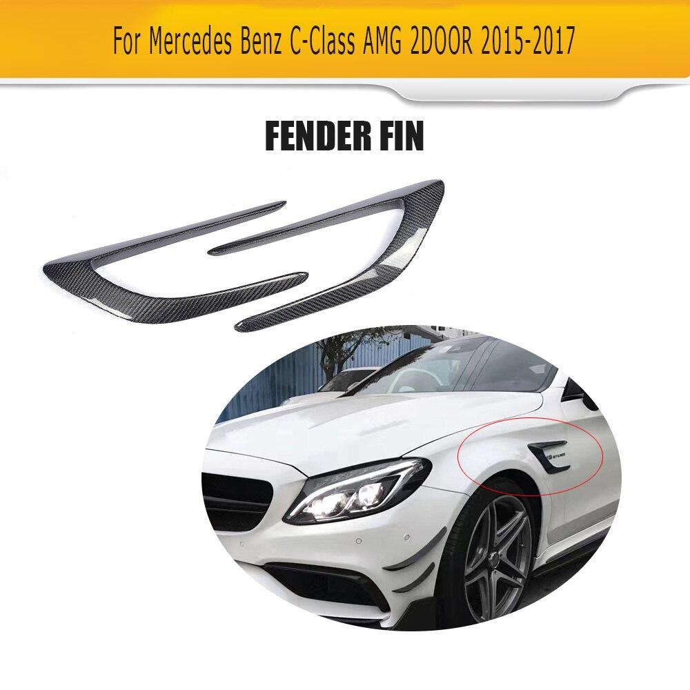 C Class Carbon Fiber Front trunk Side Fender Scoops guard for Mercedes Benz W205 C63 AMG 2-Door 2015 -2017 2PCS Car Accessories