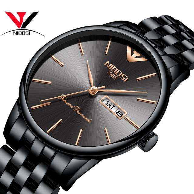 Relogio Masculino NIBOSI Luxury Simple นาฬิกาผู้ชายผู้ชายสแตนเลสปฏิทินวันที่และวันแฟชั่นนาฬิกา 2018 Saat