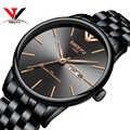 Relogio masculino nibosi relógios masculinos marca superior luxo simples relógios masculinos calendário de aço data e dia moda relógios 2018 saat