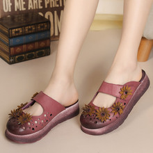 Summer Women Flat Heel Sandals Closed Toe Flower Ethnic Style Handmade Genuine Leather Personalized Women Slippers