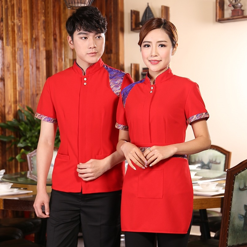 Hotel Restaurant Work Uniform Coat Hot Pot Shop Waiter Waitress Men Women Short-sleeved Breathable Fashion Shirt Overalls H2185