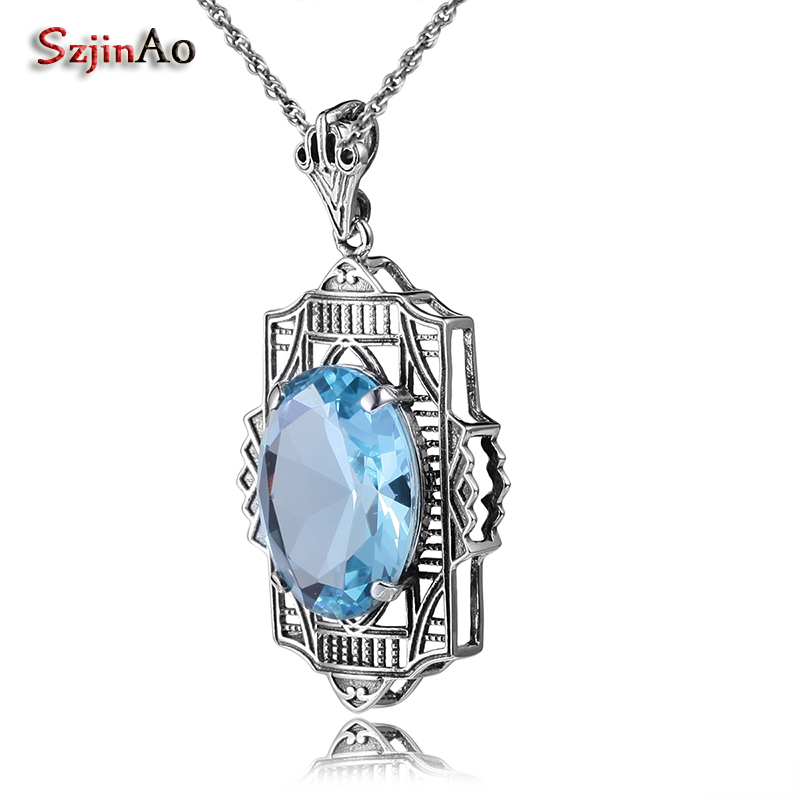 Szjinao Matching Eternal Women Aquamarine Pendants Vintage Style 925 Sterling Silver Jewelry For New Year Gift Viking Pendant