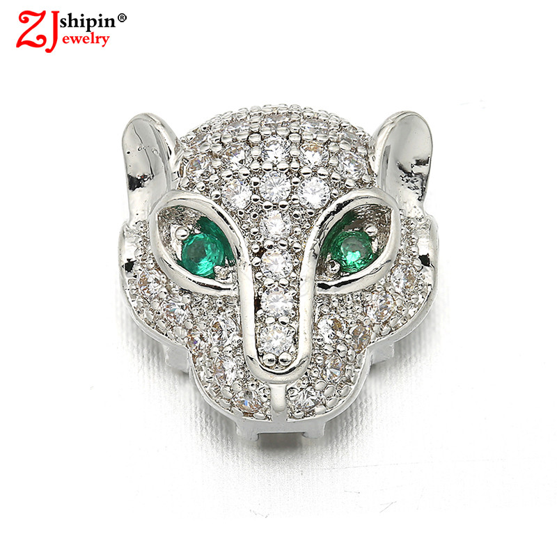 ZJSHIPIN Charm Leopard Jewelry Accessories Connector Micro-inlaid Zircon CZ Suitable for Bracelet Jewelry Discovery Wholesale