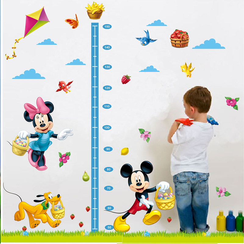 cartoon minnie mickey mouse growth chart wall sticker for kids room-Free Shipping Butterfly Wall Stickers For Bedroom For Kids Rooms tree wall decal