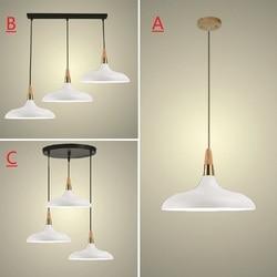 Biały wisiorek światło dla kuchni wyspa biurowe nowoczesne lampy sufitowe drewna lampy wiszące Bar duży oprawy oświetleniowe sypialnia światła w Wiszące lampki od Lampy i oświetlenie na