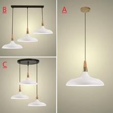 White Pendant Light For Kitchen Island Office Modern Ceiling Lamp Wood Pendant Lamps Bar Large Lighting Fixtures Bedroom Lights kitchen island lamps modern ceiling lamp vintage bar pendant lights loft wrought aluminum metal lighting fixtures for one pic
