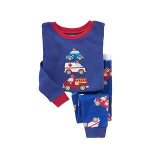 Image 3 - Pyjama pour enfant pour garçon et fille, ensemble pour la nuit avec pantalon long et haut à manches longues, imprimés animaux, matière coton