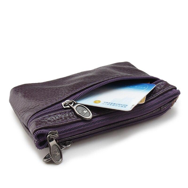 Zongshu Brand Genuine Leather Slim Coin Purse Women Coffee Coin Purse Men Zipper Around Wallet Card Holder Комедон