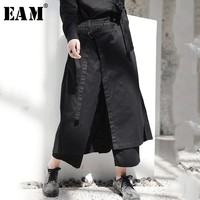 WKOUD EAM 2019 New Autumn Winter High Elastic Waist Black Loose Vent Loose Long Wide Leg Pants Trousers Women Fashion Tide JI084