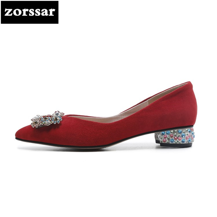{Zorssar}2018 New fashion Rhinestone suede womens High-heeled shoes Pointed toe Slip-on Shallow High heels ladies low heel shoes [328] women autumn fashion shoes pu skin shallow low heeled shoes with high heel pointed shoes for ol lss 888