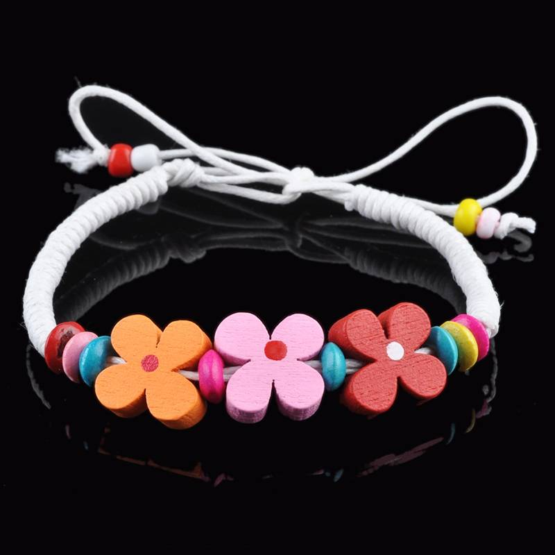 5pcs/lot Chic Multicolor Handmade Wood Bracelet Flower Charm Bracelets Wristband Leather chain Jewelry Drop Wholesale