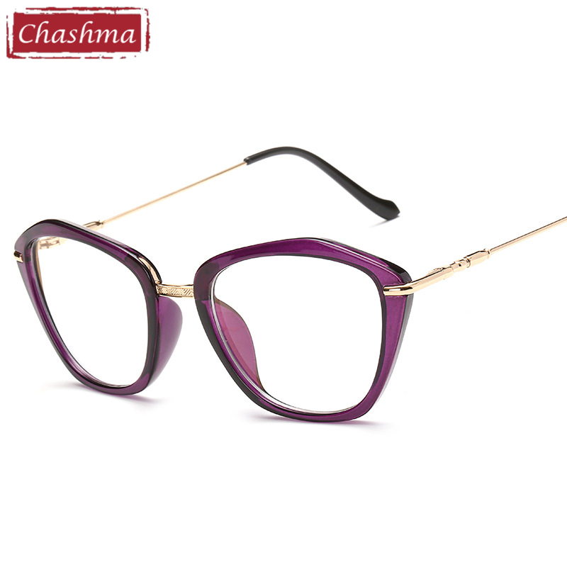 Chashma Brand 2018 Fashion Eyeglasses Cat Eye Glasses Fashion Frames Glasses Women Optical Eyewear Frame Purple Glasses