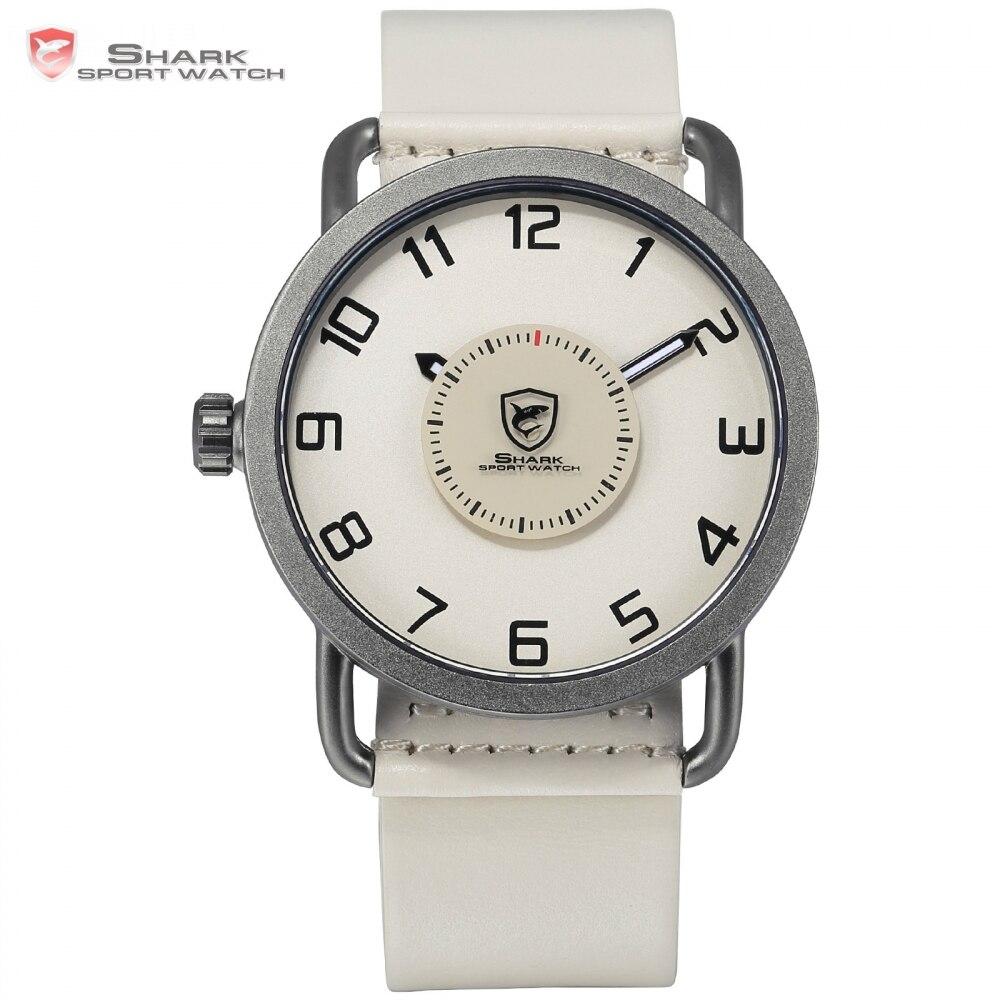 720c957949d Áspero do caribe Homens De Luxo De Quartzo Relógio Do Esporte Tubarão Bege  Turntable Segunda Mão Relógios de Couro À Prova D  Água Design Simples SH524  em ...