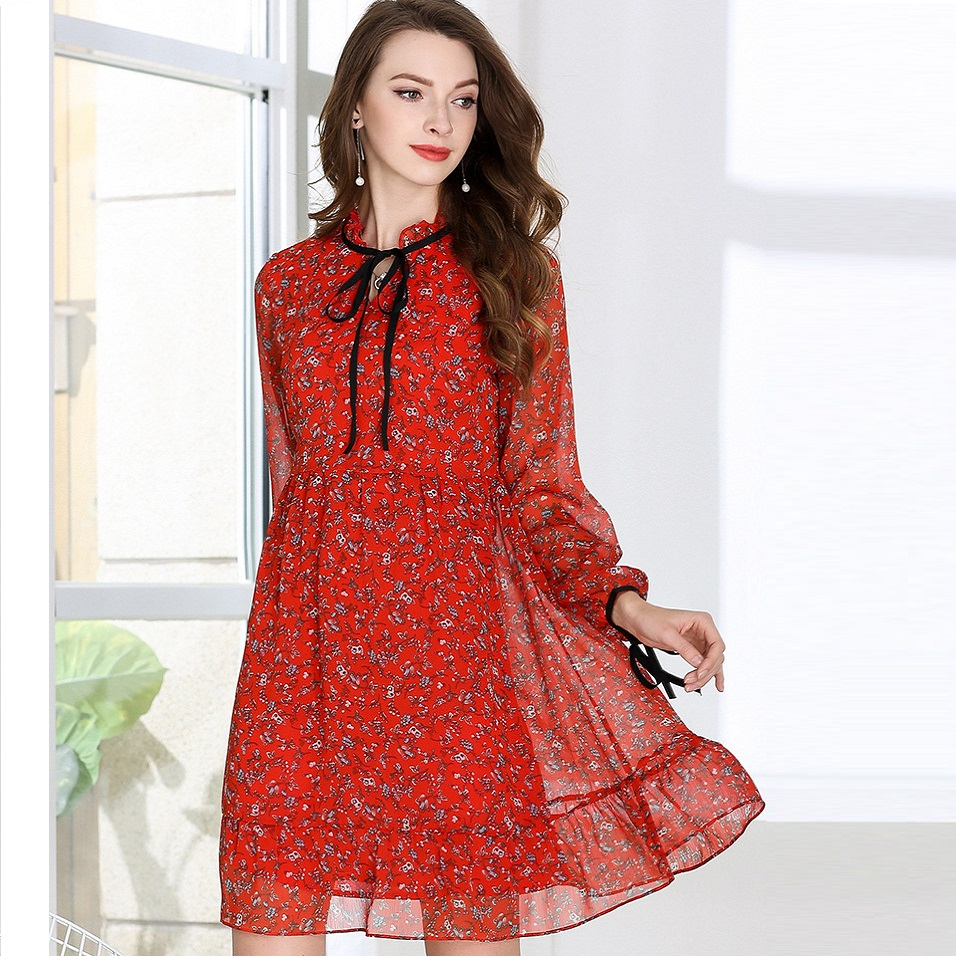2018 Summer Ladies Plus Size Floral chiffon Dress Ruffled collar ...