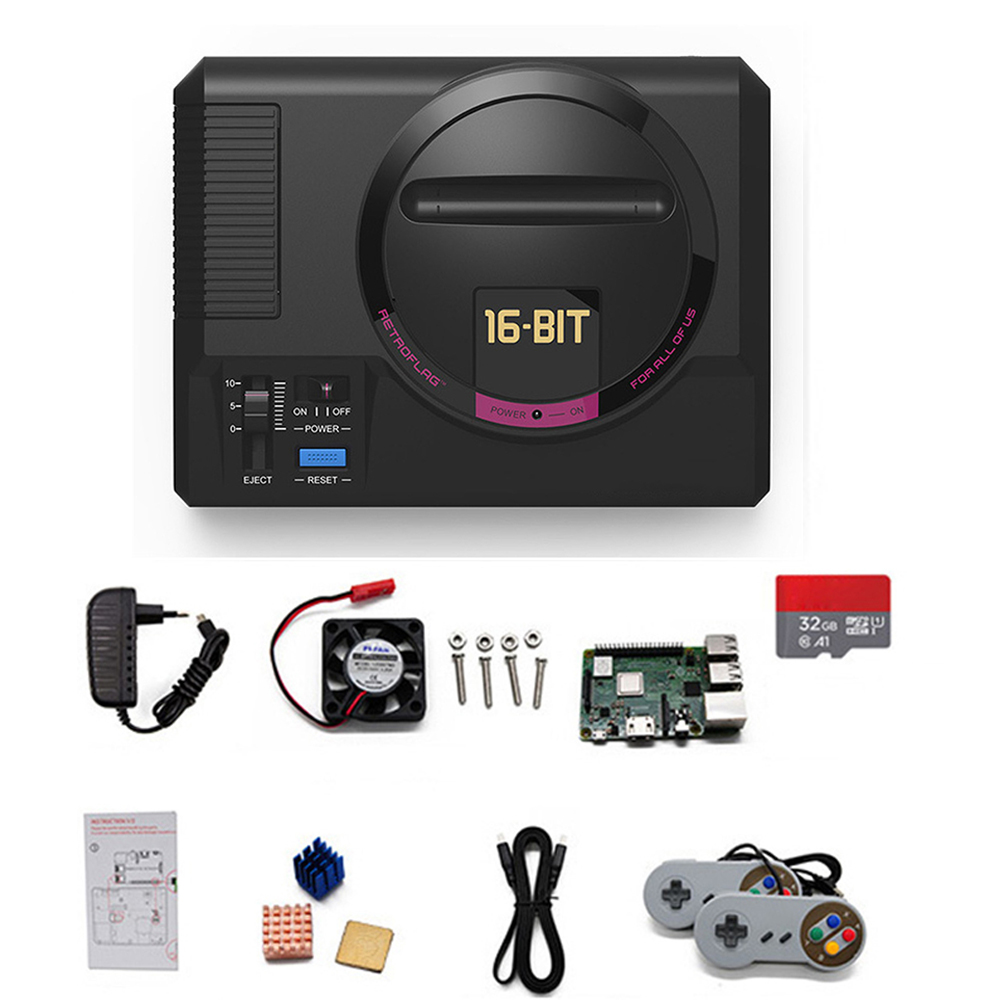 for Raspberry Pi 3B+ MEGAPi Case Retro HD Game Console with 32GB Memory Card 2 Extra USB Ports 1000 Games Support 50 Emulators