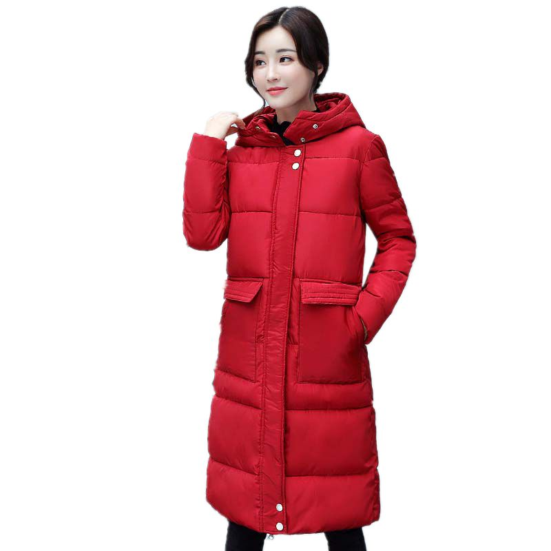 2017 New Arrival Rushed Womens Winter Jackets And Coats Winter Parka Women 's Cotton Long Jacket Coat Big Pocket Hooded Leisure