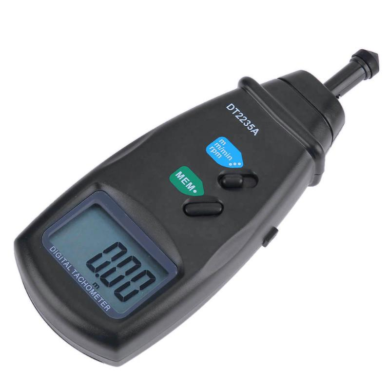 DT2235A Speedometer LCD Digital Contact Tachometer 0.5 to 19999RPM Speedometer RPM Meter Speed Measuring Instruments cem high quality digital tachometer rpm 5 digits 31mm blue backing lcd display dt 6236b photo contact tachometer