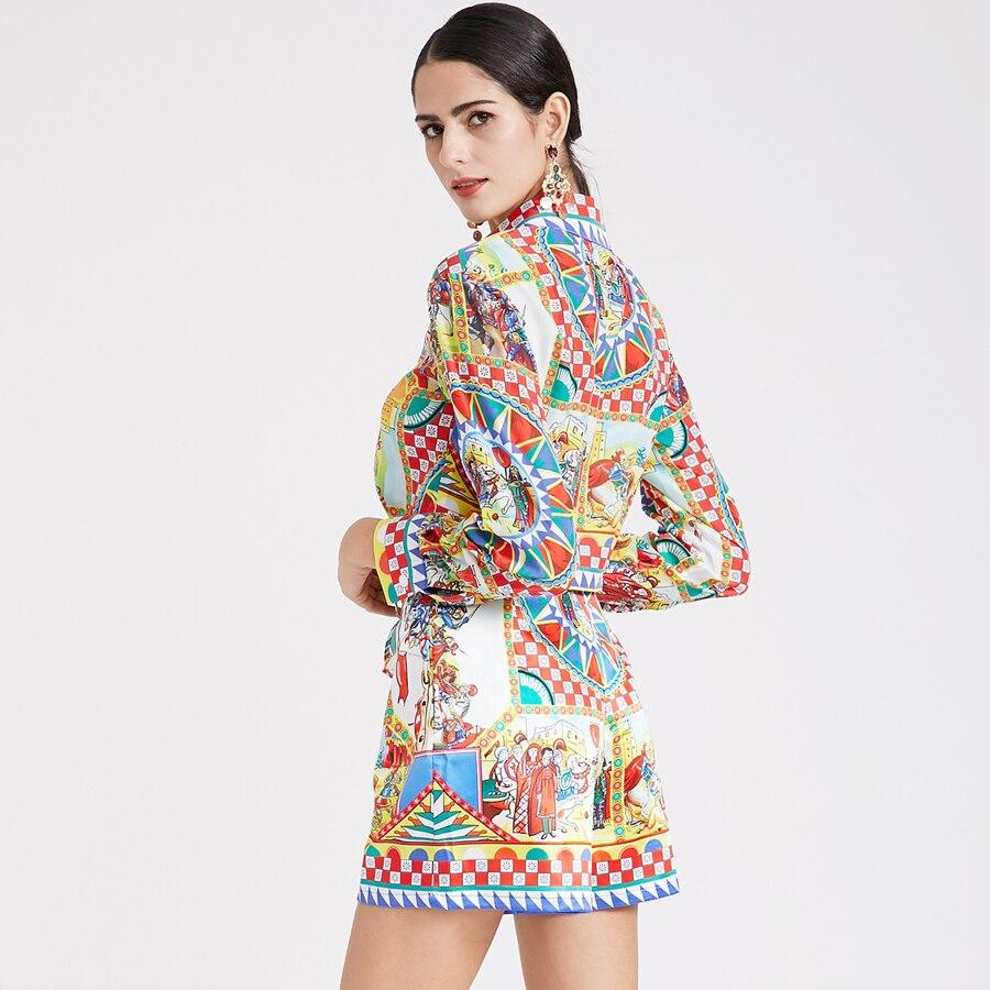 Aeleseen Nouvelle Top Haute Imprimer Avec Printemps Manches Costume Pour Piste À Courtes Longues Vêtements Shorts Qualité Femmes Chemises Arc 2019 UVSpMqz