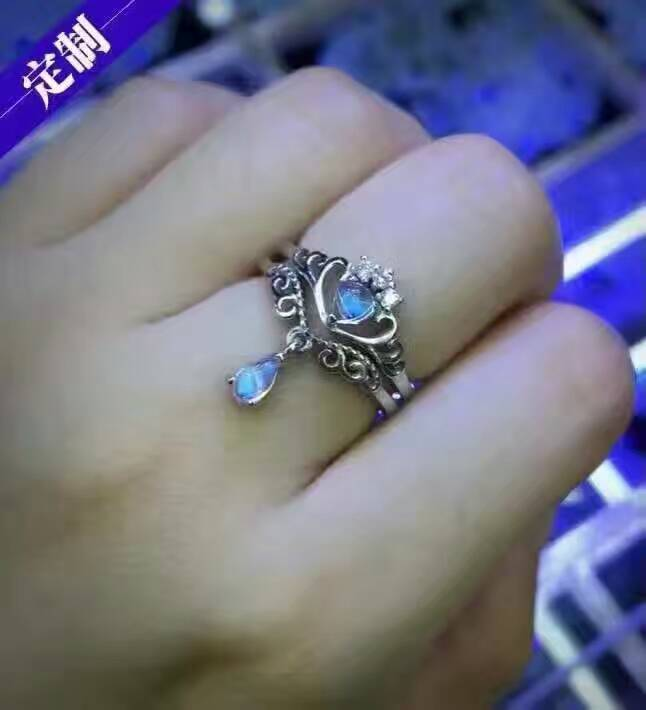 Natural moonstone gem Ring Natural gemstone Ring 925 sterling silver Stylish elegant two wears Crown water drop women Jewelry цена 2017