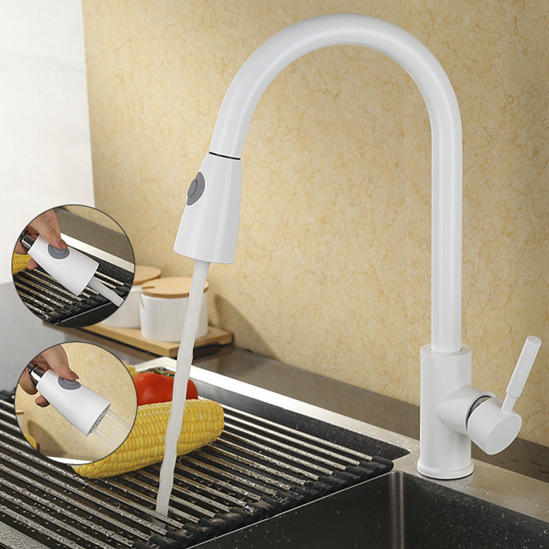 Kitchen Faucet Mixer Pull Out Kitchen Tap Single Handle Single Hole 360 Rotate Copper White Nickel