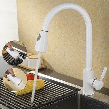Küche Wasserhahn Herausziehen Küche Hahn Einzigen Handgriff Single Loch 360 Drehen Kupfer Weiß/Nickel/Gold Swivel waschbecken Mischbatterie