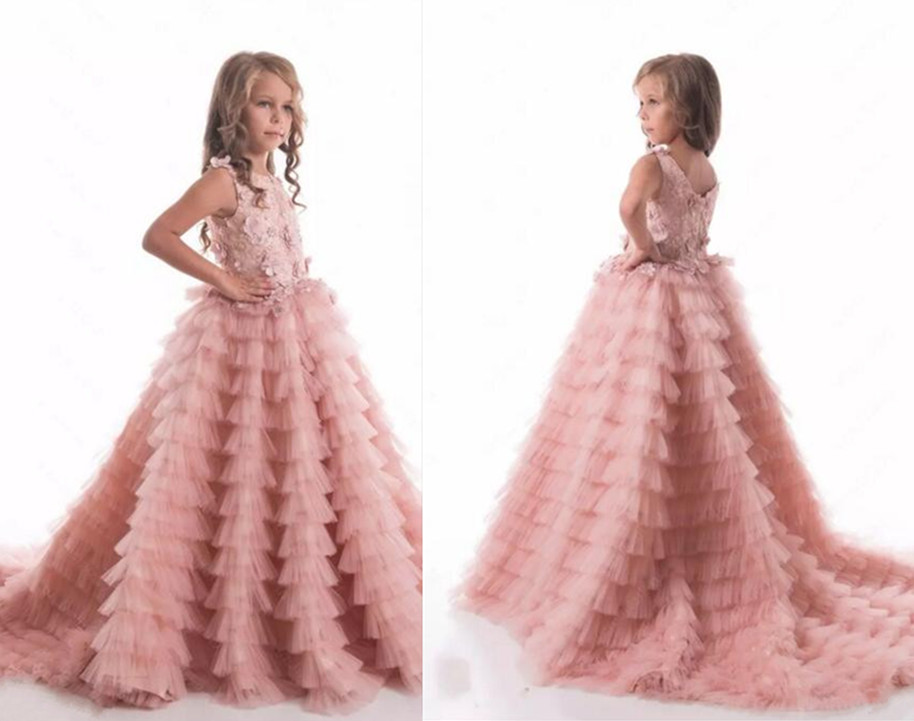 New Pretty Princess Pink Flower Girls Dresses Puffy Tulle Lace Girls Pageant Party Gowns First Communion Dress Any Size ободки pretty mania ободок