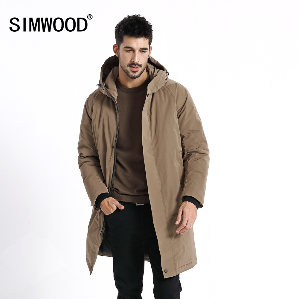 SIMWOOD 2018 Winter Coats Men Casual Long Jackets Fashion Black Warm Parkas Brand Clothes