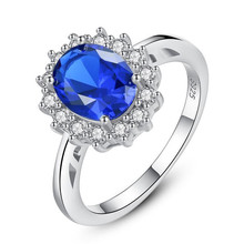 Top Quality Princess Kate Blue Gem Created Crystal 925 Sterling Silver Wedding Finger Ring Brand Jewelry For Women