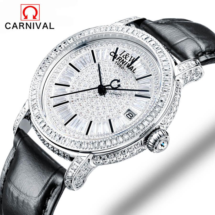 Carnival fashion women sapphire watch luxury skeleton watch automatic watches women genuine leather mechanical watches SL-15006-