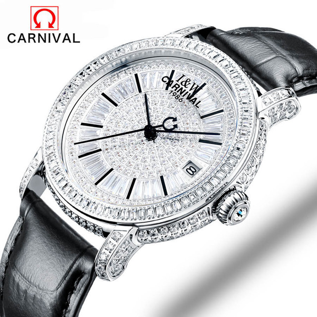 Carnival fashion women sapphire watch luxury skeleton watch automatic watches women genuine leather mechanical watches SL-15006-