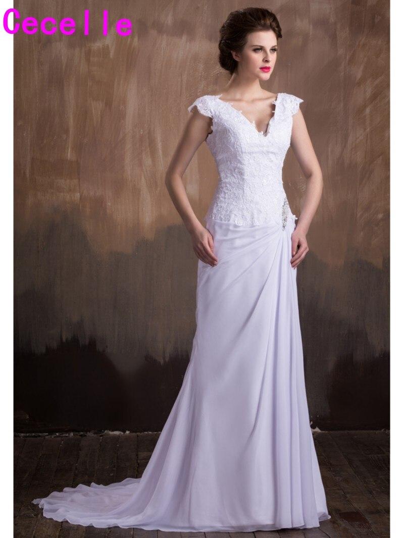 Simple Mermaid Chiffon Lace Beach Wedding Dresses 2017 Cap Sleeves ...