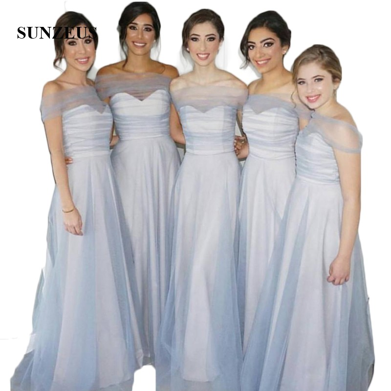 White Satin with Blue Tulle Long Wedding Party   Dresses   Boat Neck Off Shoulder   Bridesmaid     Dresses   A-Line brautjungfernkleid SBD47