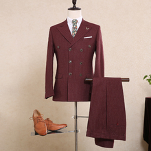 XXXL Size Customize Wine Red Mens Suits For Weddings Italy Fitted Pinstripe Suit Gentle Cotton Blazers 3 piece Mens Dress Suit