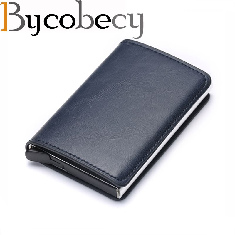 Bycobecy Antitheft Men Vintage Credit Card Holder Blocking Rfid Wallet Leather Unisex Security Wallet Leather Women Magic Wallet(China)