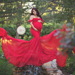 Image 3 - Long Tail Maternity Dresses For Photo Shoot Maternity Photography Props Maxi Dresses For Pregnant Women Clothes Pregnancy Dress