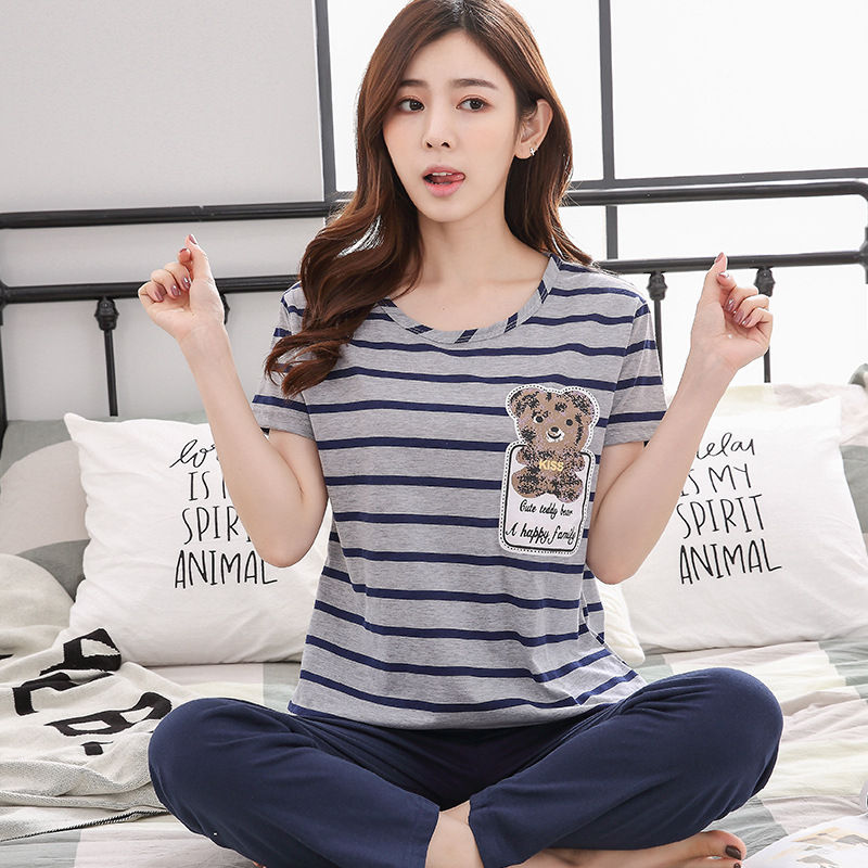 Women's Pajama Set 100% Knit Cotton Thick Two-piece Suits 2018 Autumn Female Sleepwear Cute Long Sleeve Pyjama Sets Homewear