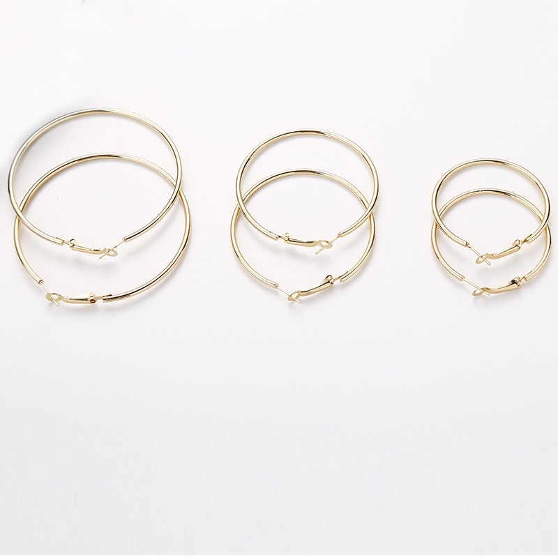 Hot Sale Hoop Earrings 40mm 60mm 70mm Big Smooth Circle Earrings Basketball Brincos Loop Earrings for Women Jewelry Oorbellen
