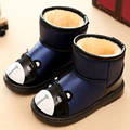 Thick Plush Waterproof Leather Kid Shoes Children Boys Girls Autumn Winter Warm Boots Cartoon Bear Ankle Snow Boots