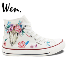 Wen Original Hand Painted Shoes Indian Cattle Bone Totem Floral Pattern Design Custom High Top Canvas Sneakers Women Girls Gifts
