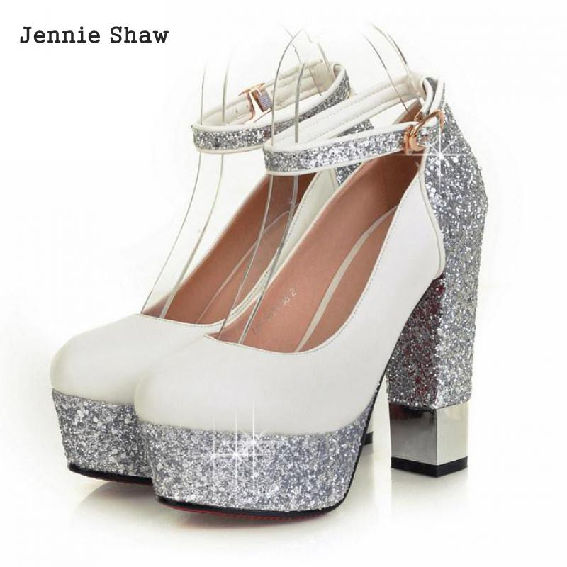 Thick Heel Ultra High Heels Single Shoes Gorgeous Bride Wedding Shoes Sexy Pumps