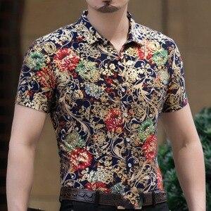 Image 5 - Гавайская Повседневная рубашка из 80% шелка, мужская пляжная летняя одежда с короткими рукавами и принтом с обеих сторон, с китайским драконом и цветком нации 2020