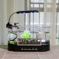 Aquarium USB Mini Aquarium Fish Tank Aquarium with LED Lamp Light LCD Display Screen and Clock Fish Tank Aquarium D45