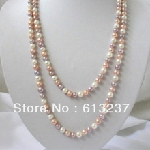 Moda blanco rosa púrpura 7-8mm multicolor de agua dulce collar de perlas naturales 50 pulgadas MY4514