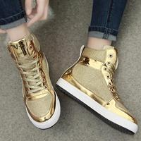 2017 New Womens Crystal Patent Leather With Glitter Canvas High Top Causal Shoes Brand Design Lace