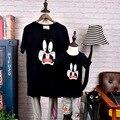 100% algodão novo design verão pai-filho moda clothing mãe menino menina t-shirt com desenhos animados linda