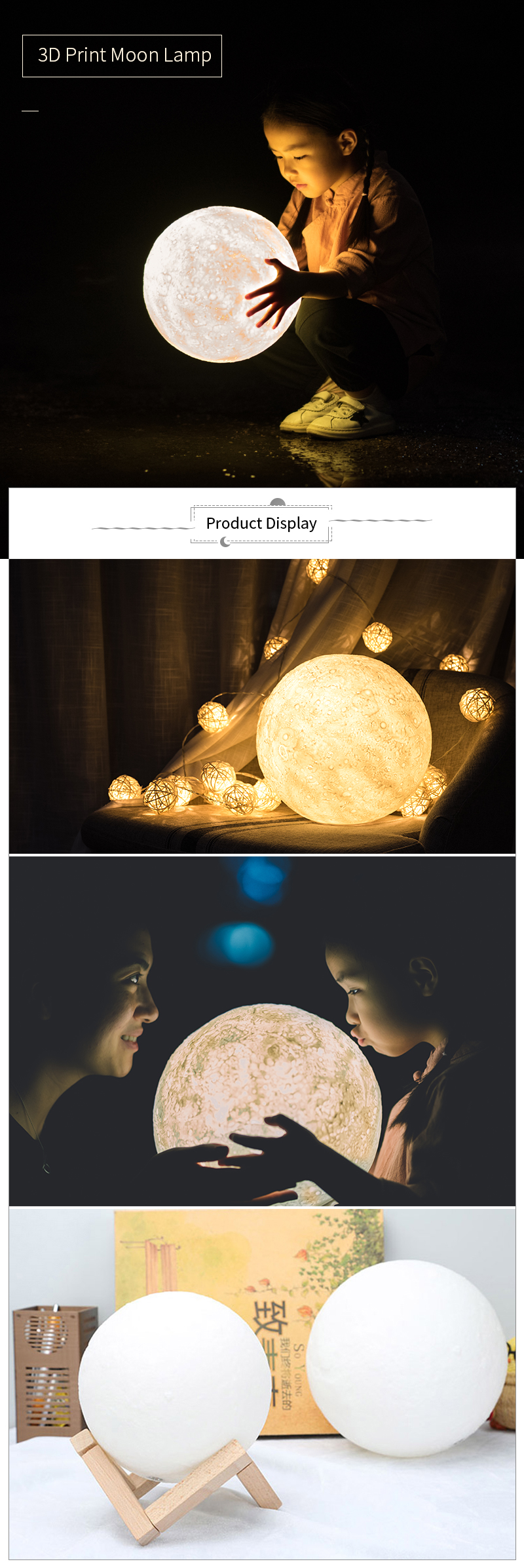 3D Print Moon Lamp Rechargeable Night Light RGB Color Change Touch Switch Bedroom 3D lunar Moon Lamp Home Decor Creative Gift 3