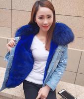 brand 2018 autumn winter jacket coat women Holes Denim jacket real large raccoon fur collar and real Fox fur thick warm Liner