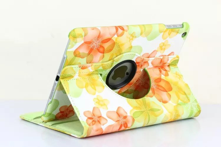 Fashion Flower 360 Degree Rotation Stand PU Leather Protective Skins Cover Case For Apple iPad Mini 1 2 3 7.9 inch Tablet