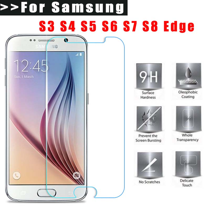 9H Screen Protection Tempered Glass For Samsung Galaxy S8 S6 S7 edge Full coverage tpu film S3 S4 S5 mini Ultra-thin