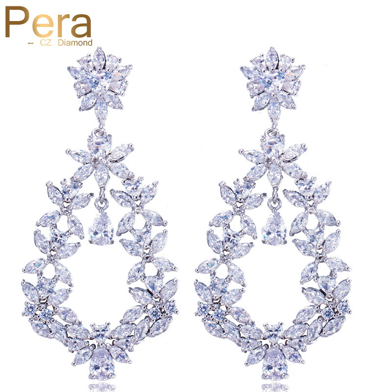 Pera Luxury Mother's Day Gift Jewelry Big Statement Cluster Flower Marquise Shape Long Cubic Zirconia Earrings For Women E265 pera elegant women pearl jewelry set for party gift big leaf shape cubic zirconia long dangle necklace and earrings j233